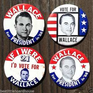 WALLACE FOR PRESIDENT Pin Badge Collection 1968