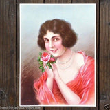 ROSE Pinup Lithograph Art Print 1920s