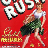 ON RUSH VEGETABLE Crate Box Label 1950s