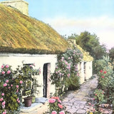 PRIMROSE COTTAGE Wallace Nutting Art Lithograph Print 1940s