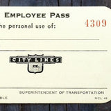 CITY LINES Employee Bus Passes 1968