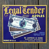 LEGAL TENDER APPLES Fruit Crate Box Label 1940s