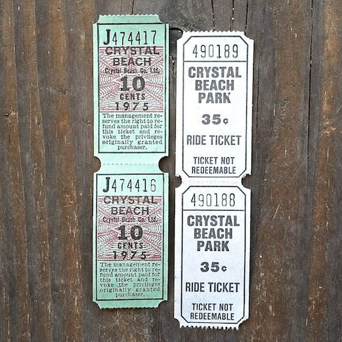 CRYSTAL BEACH Amusement Park Ride Tickets 1970s