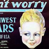 DON'T WORRY NORTHWEST PEARS Fruit Crate Box Label