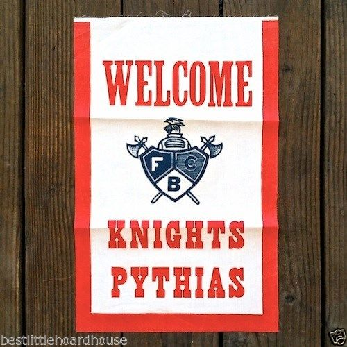 WELCOME KNIGHTS PYTHIAS Fraternal Fabric Banner 1920s
