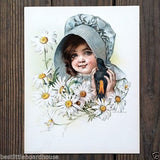 CHILD BIRD & DAISIES Victorian Stone Lithograph Print 1907