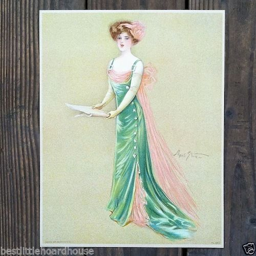 SINGER Victorian Stone Lithograph Print 1909