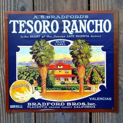TESORO RANCHO SUNKIST Orange Crate Box Label 1930s