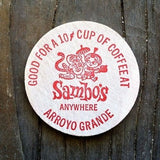 SAMBOS WOODEN NICKEL Free Coffee Tokens 1976