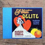 El-West DELITE Orange Citrus Ad Card 1930s
