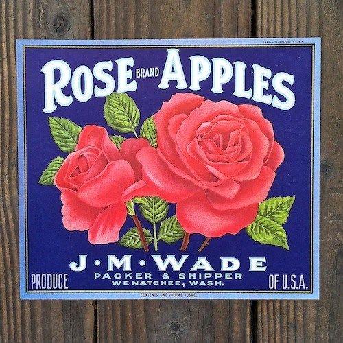 ROSE BRAND APPLES Fruit Crate Box Label 1940s