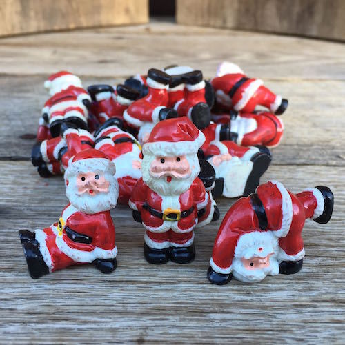SANTA CLAUS FIGURINE Christmas Cupcake Toppers 1960s