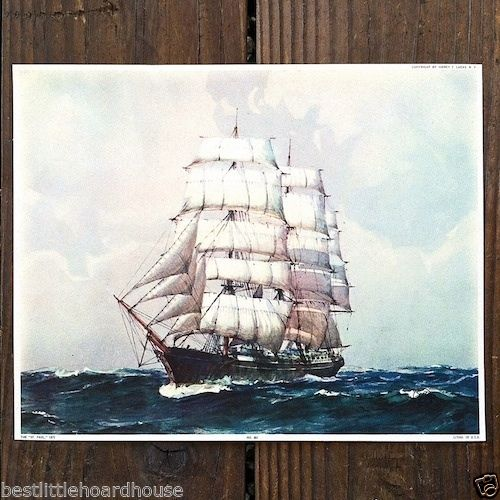 ST. PAUL CLIPPER SHIP Art Lithograph Print 1920s