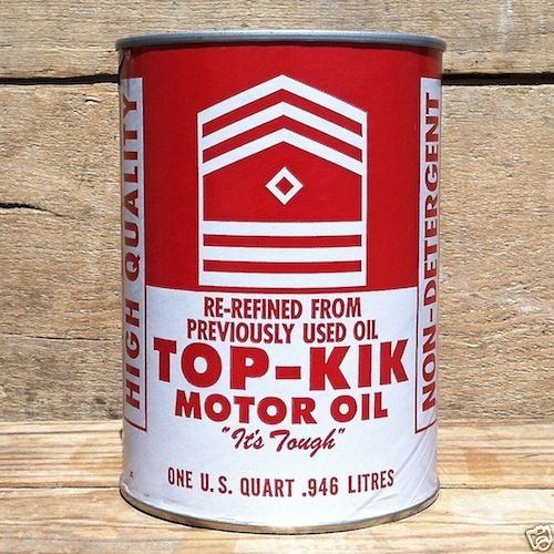 TOP-KIK MOTOR OIL Quart Display Can 1960s