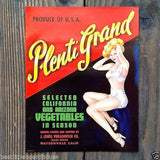 PLENTI GRAND Vegetable Crate Label 1950s