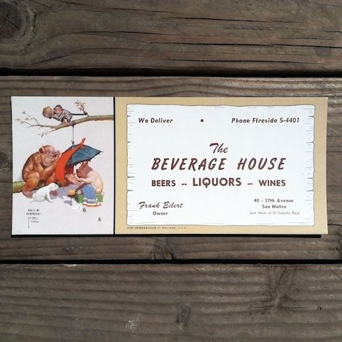 BEVERAGE HOUSE LIQUORS Surprised Ink Blotter 1950s