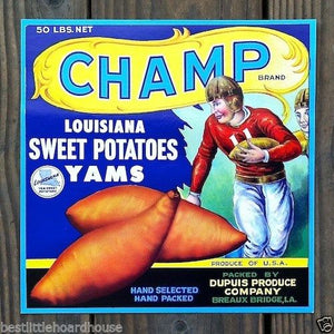 CHAMP SWEET POTATOES Vegetable Crate Label 1950s