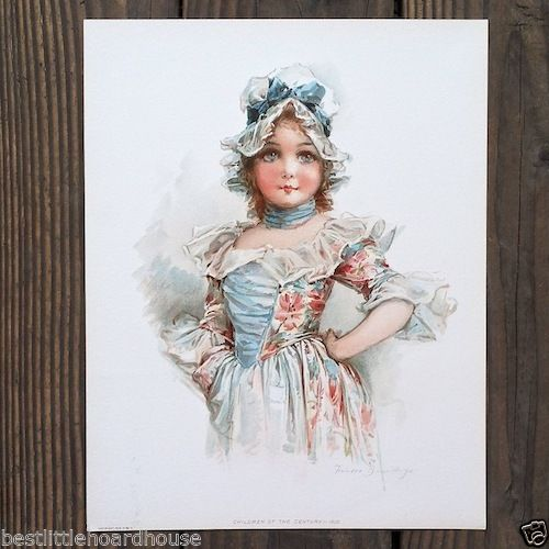 FRANCIS BRUNDAGE BLUE DRESS Victorian Stone Lithograph Print 1900