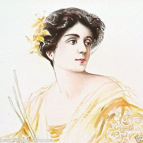 ELEANORA DUSE EMINENT ACTRESS Victorian Lithograph Print 1904