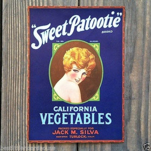 SWEET PATOOTIE VEGETABLES California Crate Label 1920s