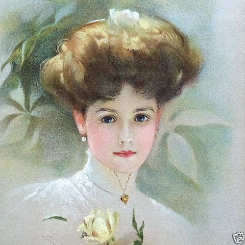 YELLOW ROSE Victorian Lithograph Print 1909