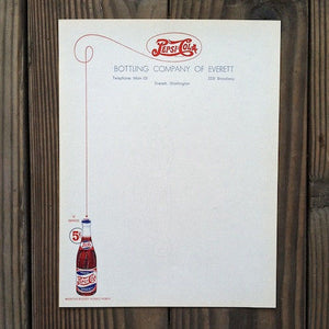 2 Original PEPSI COLA SODA Stationary Letterhead Sheet HIDDEN LOGO Everett NOS
