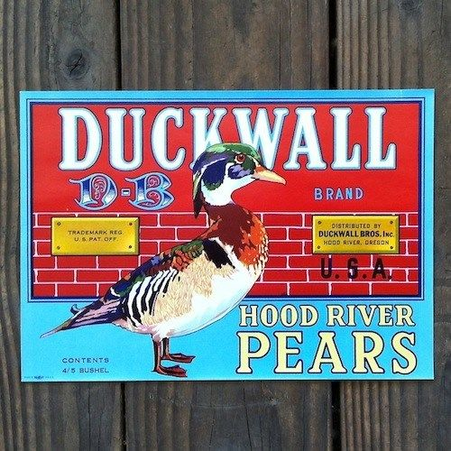 DUCKWALL PEARS Fruit Crate Box Label 1950s
