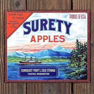 SURETY APPLES Fruit Crate Box Label
