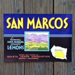 SAN MARCOS SUNKIST LEMON Citrus Crate Box Label
