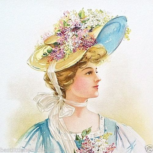 Wild Flowers EASTER HAT Victorian Lithograph Print 1908