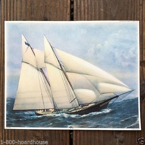 YACHTING Clipper Ship Lithograph Print 1920s