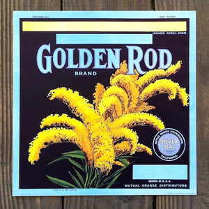 GOLDEN ROD Citrus Crate Fruit Box Label