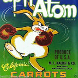Upn' Atom CARROTS Vegetable Crate Label 1950s