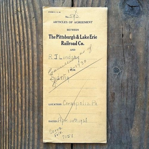 PITTSBURGH LAKE ERIE Railroad ARTICLES OF AGREEMENT 1930s-40s