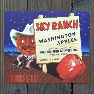 SKY RANCH APPLES Fruit Crate Box Label
