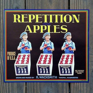 REPETITION APPLES Fruit Crate Box Label