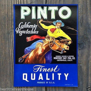 PINTO California Vegetable Crate Label 1950s