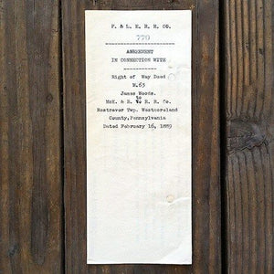 PITTSBURGH LAKE ERIE Railroad Contact Agreement 1800's