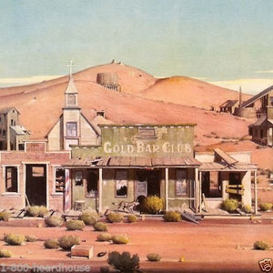 Gold Rush GOLD BAR CLUB Ghost Town Lithograph Art Print 1960's