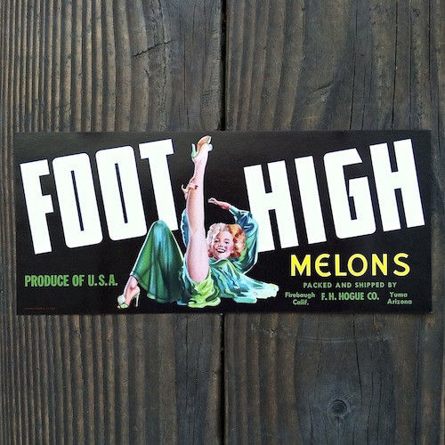 FOOT HIGH MELONS Fruit Crate BLACK Box Label 1940s
