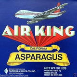 AIR KING ASPARAGUS Vegetable Crate Label 1950's
