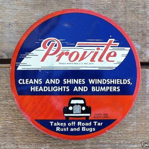 PROVITE WINDSHIELD HEADLIGHT Window Cleaner Tin 1936