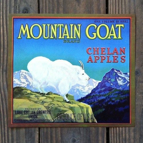 MOUNTAIN GOAT CHELAN APPLES Fruit Crate Box Label