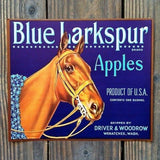 BLUE LARKSPUR APPLES Fruit Box Crate Label