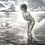 SEPTEMBER MORN Nude Pinup Lithograph Art Print 1920s