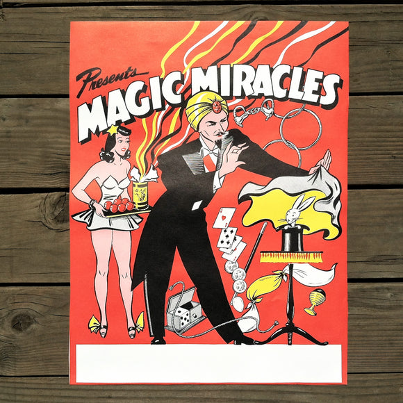 MAGIC MIRACLES Magician Poster 1950s