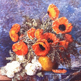 STILL LIFE POPPIES Art Lithograph Copper Print 1940s
