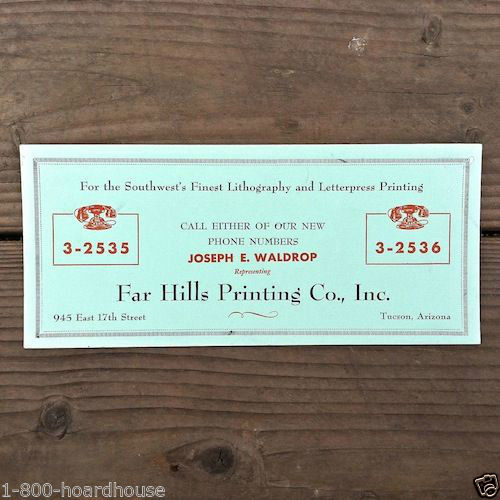 FAR HILLS PRINTING CO Advertising Ink Blotter 1940s