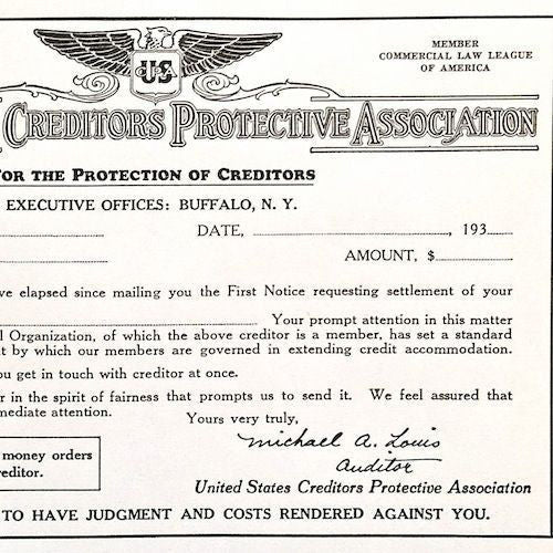 CREDITORS PROTECTIVE ASSOCIATION Debt Certificate 1930s