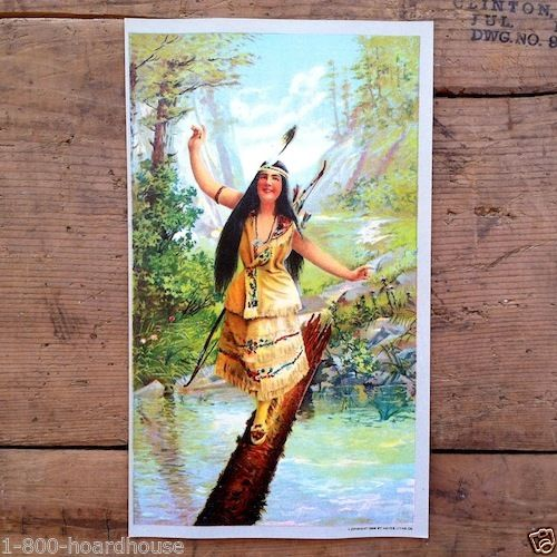 INDIAN MAIDEN Chromolithograph Art Print 1905